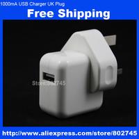 100pcs/lot 1000mA UK Plug AC Wall Power Adapter Charger for iPhone 5 5S 5C 4S ipod ipad MINI