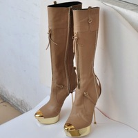 Free shipping Lady boots champagne leather high boots 14cm heel GL031