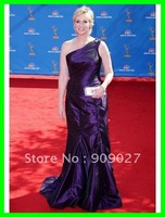 Hot Selling! 2012 Purple One Shoulder Taffeta Ruched Jane Lynch Emmy Dress Celebrity Dresses Gowns