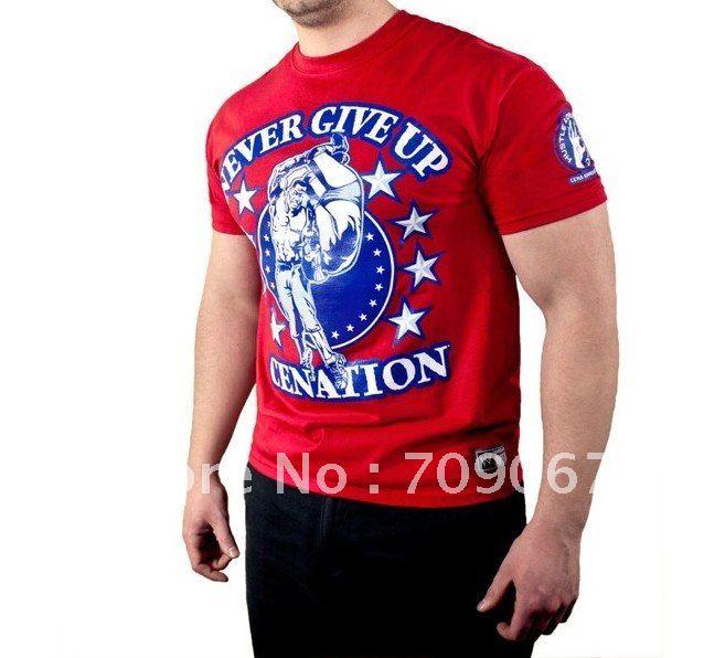 Free sample HOT SALE active and designer men's T-shirt WWE John Cena red color 100% cotton ...