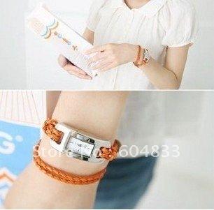 Wholesale fashion Braided Leather Cord bracelet Lady wrist watch.Hot~Free shipping.