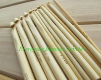 Free Shipping 12 SIZES 15cm BAMBOO Crochet Hook  3.0-10.0MM
