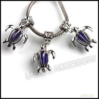 21pcs/lot Wholesale New Royal Blue Crystal Sea Turtle Charms Pendants Beads Fit Jewelry Making 31mm 151526