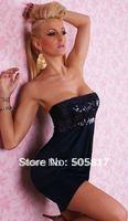 2 Colors Quality Sexy Off Shoulder Night Clubbing Dress Beauty Lady Sequin Mini Dresses Dance Dress Costumes Black White  K2208