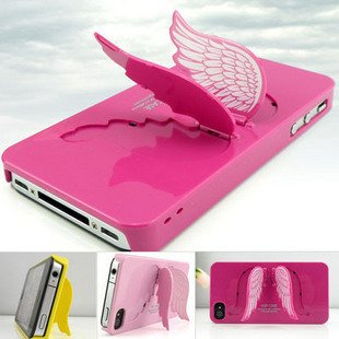 Xmas gifts Angel wings Stand Holder Hard Case for iphone 4 4S Back Cover Protect Shell Colorful 10pcs/lot(China (Mainland))