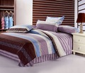 Queen bedding sets 4 pcs with sheets Quality Cotton purple blue modern striped pattern Printed duvet quilt covers home textile