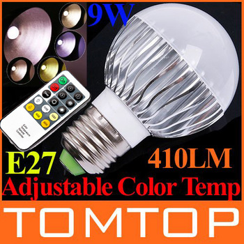 AC 100-240V 9W E27 LED Lamp 410LM Color Temperature changeable LED Light with Bright Remote Control LED Bulb Lamp free shipping