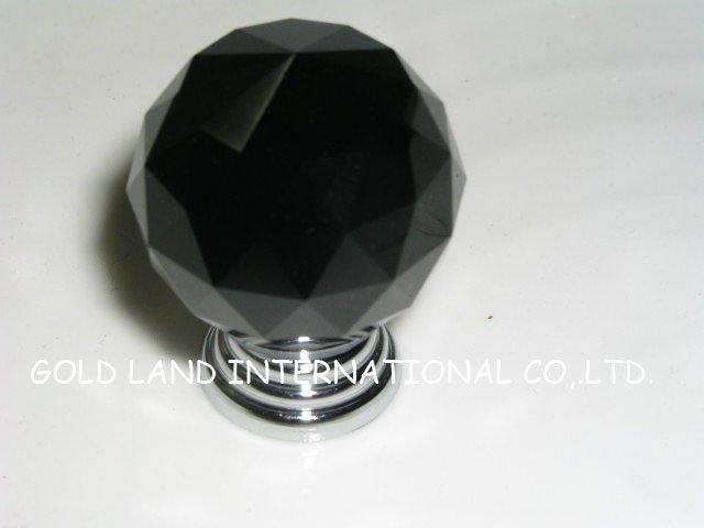 D40mm Free shipping black K9 crystal kitchen knob/bedside cupboard knob(China (Mainland))
