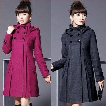 ladies' coat ON SALE Free shipping 2014 NEW winter Double-breasted women's coat woolen long coat large size warm wool outerwear