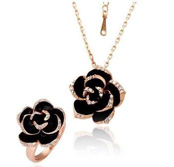18KS001 18K Gold Plated Wedding Sets Health Jewelry Nickel Free K Golden Plating  Rose Austrian Crystal  Element
