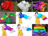Real Silk Fan Veil For Belly Dance Thicker Dancing Silk Veil Fan 180cm Multicolor