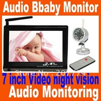 Big discount Wireless 7 inch LCD monitoring Video and audio baby monitor, night vision , audio monitoring wholesale and detail