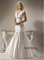 Free Shipping Custom Made 2012 Mermaid V-Neck Sexy Beaded Ruched Bridal Gowns Wedding Dresses Magi14