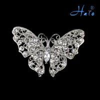P168-381 Free Shipping 6PCS/Lot Solid Vintage Inspired Clear Crystal Rhinestone Butterfly Brooch