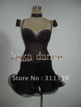 Free shipping,100% New Competition Swarovski Crystal Latin dance dress(each colour,ecah size)-KAKA-L208