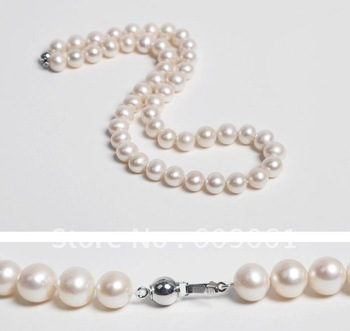 Free Shipping  Genuine natural pearl necklace pearl necklace female models 9-10 AA