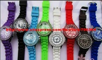 DHL Free 100 pcs/lot Unisex silicone watchband,Kanima &amp; OEM logo support Diamond Watch,Colorful Silicone Strap Diamond Watches