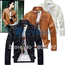 New Korea Men's Zip-up Slim Fit Designed PU Leather Jacket Coat Black/ Brown/ White M, L, XL(China (Mainland))