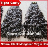 Black Mongolian hair tight curly