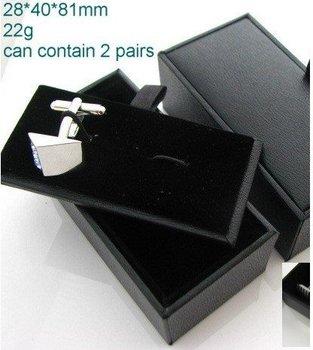 Free Shipping 96pcs/lot Black Leather Cufflink Pendant Holder Boxes