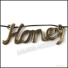 36pcs/lot, Charm Antique Bronze Vintage Honey Pendant Charm 2 Loops Pendant Honey Charms 57x20x2mm 140856