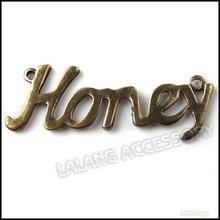 36pcs lot Charm Antique Bronze Vintage Honey Pendant Charm 2 Loops Pendant Honey Charms 57x20x2mm 140856