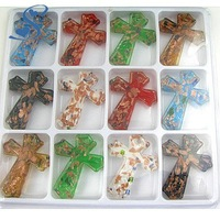 48*60mm 12pcs Mix Color Lampwork  Murano Glass Cross Pendants for Elegant Necklace Free Necklace Cord Free Shipping 9004