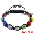 Min Order $10 Classic Shamballa Bracelet Women Multicolour Crystal Pave Beads Woven Bracelet 10mm Free Shipping DYSL0034