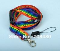 """RAINBOW PEACE"" Lanyard Keychain Necklace Polyester Mobile lanyard ID badge holder keys ID neck straps 12pcs/lot Free shipping"
