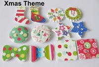 Christmas buttons mixed patterns 100pcs/lot scrapbooking/craft jewelry/sewing wooden buttons christmas