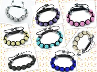 Handmade Shamballa bracelet ball Fashion jewelry face glitter crystal beads