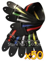 Affordable And Durable Nylon + leather Guitar Strap / Belt Accessory Many Colors Wholesale Lots OF 50