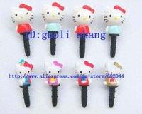 Free shipping 50 PCS 3D HELLO KITTY 3D 3.5 MM Cartoon Mobile Phone Ear Cap Dust Plug dust plug for lovely ear cap