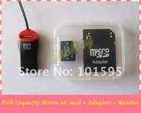 High speed real capacity 4GB 8GB 16GB 32GB 64GB Class10 micro sd card memory card  with TF card reade free shipping