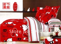 brand new red cartoon hello kitty cat pattern girls children's bedding queen/full comforter doona quilt/duvet covers sets 4pc