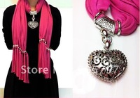 Cotton Soft Charm Pendant Scarves Fashion Jewelry necklace wrinkle Scarf