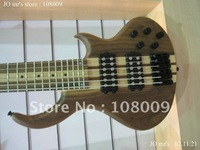Great 6 Strings Bass Thru neck Brown natural Electric Bass New Arrival