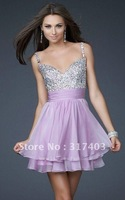 Free Shipping Hot Sale Beading Chiffon Cocktail Dresses Short Dresses