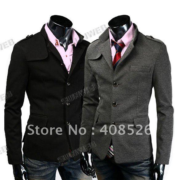 Мужская ветровка NEW 2011 Men's Jacket Fashion Slim Fit Up Collar Designed Coat Jacket 4 Size gray 3391