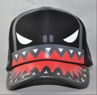 2011 the Mainstream, Shark Mouth, Tide Grid Hat, Suitable for Boys and Girls ,2 color 5pcs/lot