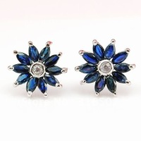 Natural Sapphire with S925 sterling silver Studs Earrings