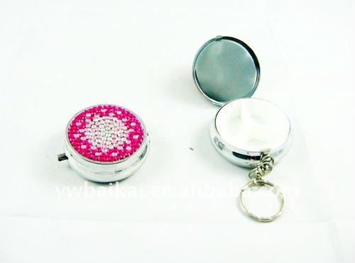 Round travel pill case fashionable jewelry decorative wholesale12pcs/lot(China (Mainland))