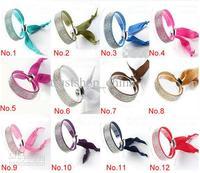 Indian Charm Bracelet Girls Ribbon Rhinestone Wrapped Bangle Latest Fashion Adjustable Wristbands 4 Rows