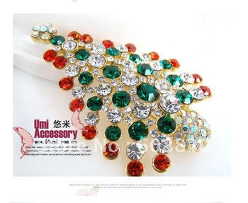 Free Shipping New Fashion Christmas Tree Crystal Brooch Breastpin As Gifts