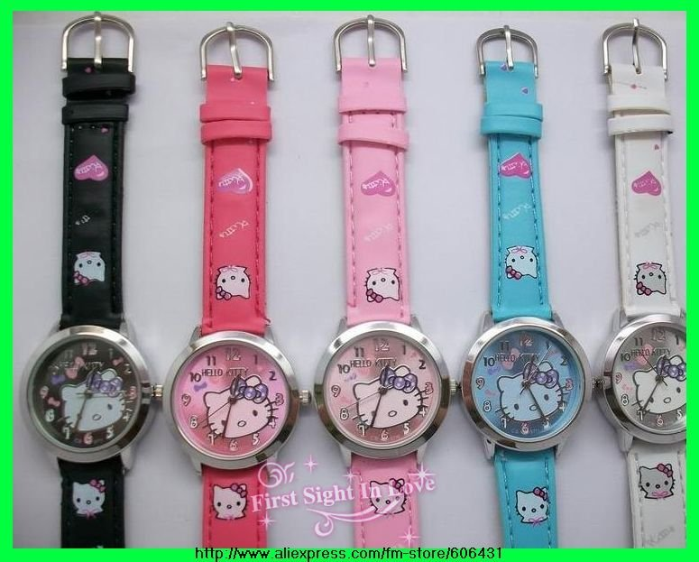 hello kitty lovely wristwatches,leather strap,kids girl students watches,5 colors,best gift,20pcs/lot,free shipping,5711(China (Mainland))