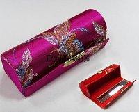 Free shipping! wholesale 12 pcs CHINA HANDMADE SILK LIPSTICK BOX CASES