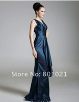 Serena Empire V-neck Floor-length Satin Gossip Girl Fashion/ Evening Dress celebrity dresses