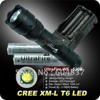 Ultrafire 502B CREE XML T6 1000 Lumens 5-Mode Led Flashlight(2*18650+Charger)+Free Shipping