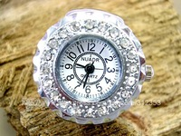 Crystal Ring Watch, Fashion Quartz Analog Finger Watches High Quality Party Jewelry Watch for Lady/Man/Lovers/Children