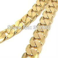 """Wholesale Low Price Chunky Mens chain Necklace 18k Yellow Gold Filled Necklace 24""""72g Curb Chain Link 1:1 Figaro Men's Jewelry"""